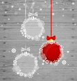 Christmas greeting card with Christmas balls vector image
