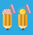 concept brain and bulb inside pencil symbolizing vector image