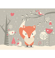Cute Christmas baby fox with floral decoration vector image