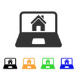 home on laptop screen icon vector image
