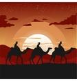 camel caravan traveling in desert at sunset vector image