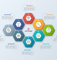 infographic template with hexagons 8 options vector image