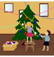 Children decorate Christmas tree vector image