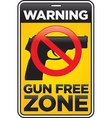 Gun free zone sign vector image vector image