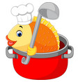 cartoon funny fish being cooked in a pan vector image
