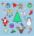 set of happy new year and merry christmas patch vector image vector image