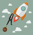 Businessman try hard to hold on a rocket with debt vector image