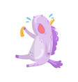 cute unicorn character sitting and crying funny vector image