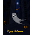halloween urban scene with ghost and bats vector image