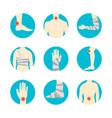human injuries set bandage and center pain vector image
