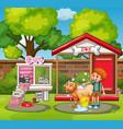 pet houses in the garden vector image