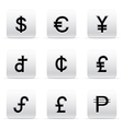 set of beautiful silver currency icons vector image vector image