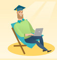 graduate sitting in chaise lounge with laptop vector image