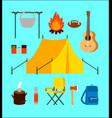flat camping elements collection vector image