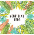 beautiful tropical palms leaves decorative frame vector image