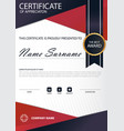 red line elegance vertical certificate with vector image