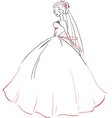 Symbolic bride in wedding dress vector image
