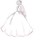 Symbolic bride in wedding dress vector image vector image