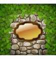 stone wall with shield and leaves vector image vector image