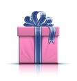 Pink gift box with ribbon and bow vector image vector image