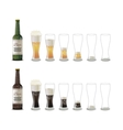 Bottles of dark and light beer with glasses icons vector image