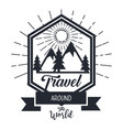 travel around the world card with hand drawn vector image