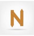 Wooden Boards Letter N vector image