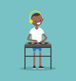 young black man wearing headphones and scratching vector image