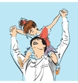 dad with little girl on his shoulders vector image