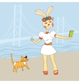 Sexy rabbit girl taking Selfie Photo On Smart vector image vector image