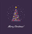 christmas tree in flat style vector image