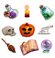 halloween symbols - skull book pumpkin and other vector image