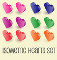 isometric graphics of heart icons set vector image