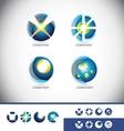 Sphere 3d logo icon set vector image