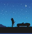 couple in love in hug standing next to their car vector image