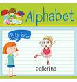Flashcard letter B is for ballerina vector image