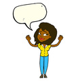 cartoon woman giving up with speech bubble vector image