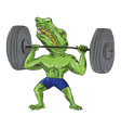 Sobek Weightlifter Lifting Barbell Caricature vector image vector image