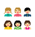 pixel people woman avatar set vector image