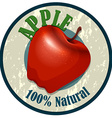 Apple food label on white vector image