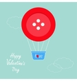 Big red button hot air balloon Dash line clouds vector image