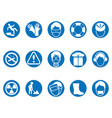 blue work safety round button icons set vector image