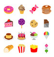 food sweet dessert fastfood bakery snack vector image