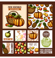 Fruits And Vegetables Cards vector image