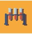 Medical test tube with blood flat design vector image