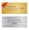 Gold With Red Ribbon and Silver With Swirl Voucher vector image