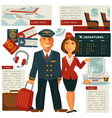 air travel and aircraft staff or cabin crew vector image