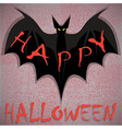 Bat on grunge Happy Halloween vector image