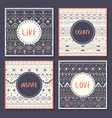 Collection of ethnic cards with motivational words vector image