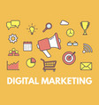 digital marketing concept megaphone with business vector image